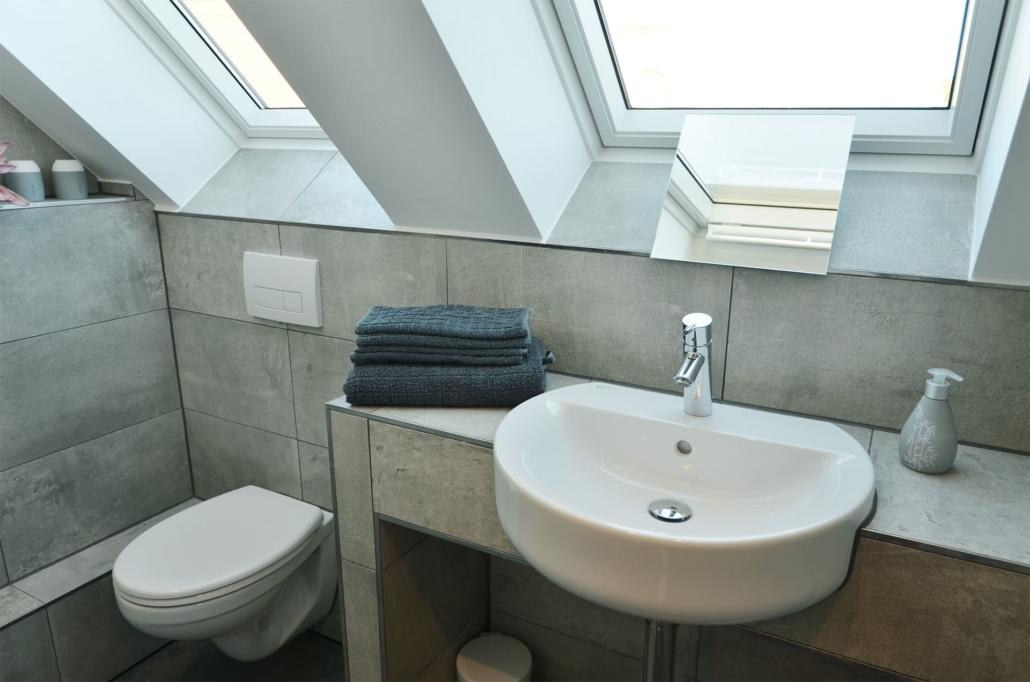 Waschbecken, Klappspiegel und WC